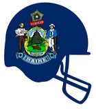 Maine State Flag Football Helmet. The flag of the state of Maine below a football helmet silhouette Stock Images