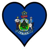 Love Maine. Maine state flag within a heart all over a white background Stock Image