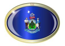Maine State Flag Oval Button Fotografie Stock Libere da Diritti