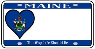 Maine State License Plate illustration stock