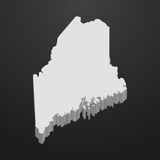 Maine State map in gray on a black background 3d. Maine  State map in gray on a black background 3d Stock Images