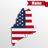 Maine State map with US flag inside and ribbon Stock Photos