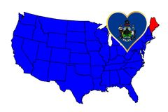 State of Maine. Maine state outline and icon inset set into a map of The United States of America Stock Photo