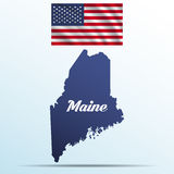 Maine state with shadow with USA waving flag Stock Photography