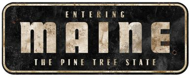 Maine State Sign Highway roadway grunge old. Antique metal tin road side ME the pine tree state stock illustration