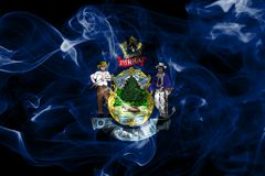 Maine state smoke flag, United States Of America. On a black background stock image