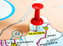 Maine state USA map. Close up of Maine state USA map with red pin - Travel concept Stock Photo
