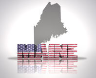 Maine State. Word Maine with National Flag of USA near map State Royalty Free Stock Image
