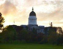 Maine Statehouse als Zonsondergang Royalty-vrije Stock Foto's