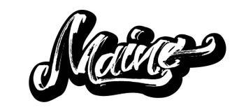 Maine. Sticker. Modern Calligraphy Hand Lettering for Serigraphy Print. Maine. Sticker. Modern Calligraphy Hand Lettering for Silk Screen Printing Royalty Free Stock Photo