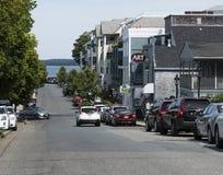 Maine-Straße hereinkommender Stangen-Hafen Maine Stockbild