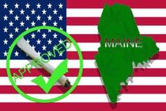 Maine sur le fond de cannabis Politique de drogue Légalisation de marijuana sur le drapeau des Etats-Unis, photos libres de droits