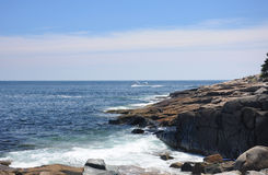 Maine Tour Boat. A tour boat making its way around Schoodic Penisula in the Atlantic Ocean at Maine Stock Image