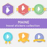 Maine travel stickers collection. Royalty Free Stock Image