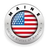 Maine Usa flag badge button Stock Photo