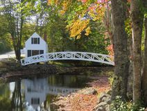 Maine walking bridge reflection in fall royalty free stock image