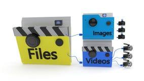 MainFolder bonded to photos and videos, 3d rendering. MainFolder bonded to photos and videos, 3d render Stock Photos