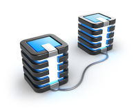 Mainframe Servers Connected To Each Other. On White Background. Stock Image