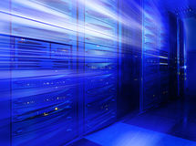 Mainframe stack in the server room blue blur Stock Image