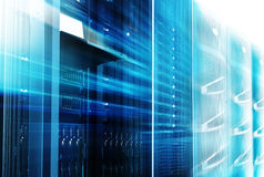 Mainframes cluster  with control terminal in data center. motion blur. bottom view Royalty Free Stock Images
