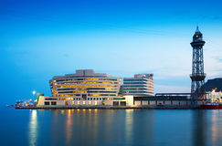 Maing building of Port Vell in evening Royalty Free Stock Photos
