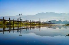 Maing Thauk most, Inle jezioro, shanu stan, Myanmar. Zdjęcia Royalty Free