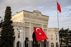 Maingate av det Istanbul universitetet i Beyazit, Istanbul, Turkiet Arkivbilder
