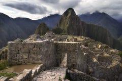 Maingate av Machu Picchu, den borttappade Incastaden i Peru Arkivbild