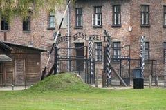 Maingate på Auschwitz Arkivbilder