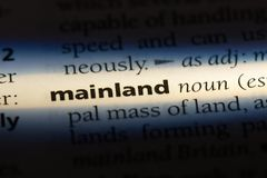 Mainland. Word in a dictionary.  concept royalty free stock photos