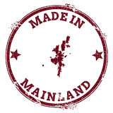 Mainland seal. Vintage island map sticker. Grunge rubber stamp with Made in text and map outline, vector illustration Stock Photos