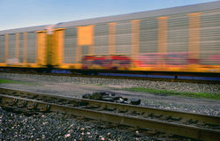 Mainline area Railyard Detroit. Train automotive cars in motion Stock Image