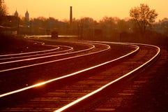 Mainline da estrada de ferro no nascer do sol 3 Imagem de Stock