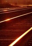 Mainline de chemin de fer au lever de soleil Photos stock