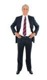 Mains âgées moyennes d'homme d'affaires sur des gratte-culs image libre de droits