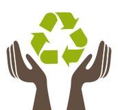 Mains écologiques protégeant la conception d'isolement d'icône Images stock