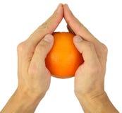 Mains, étreignant l'orange mûre Images stock