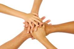 Mains étreintes en cercle Photos libres de droits
