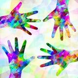 Mains abstraites multicolores sur le fond Image libre de droits