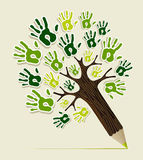 Mains amicales d'arbre de crayon d'Eco illustration stock