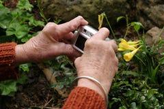 Mains arthritiques retenant l'appareil photo numérique Photos libres de droits