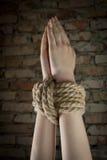 Mains attachées avec la corde Image stock
