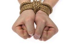 Mains attachées d'isolement Images libres de droits