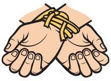 Mains attachées Photo libre de droits