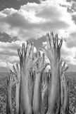 Mains augmentées à l'unisson image libre de droits