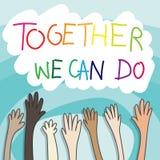 Mains augment?es offrant le concept la coopération des personnes dans différentes nationalités a soulevé des mains avec le texte  illustration stock