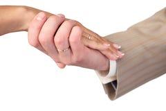 Mains avec des boucles de mariage d'isolement sur le blanc Photos libres de droits