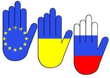Mains avec des drapeaux Photographie stock