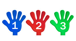 Mains avec des numéros Photo libre de droits
