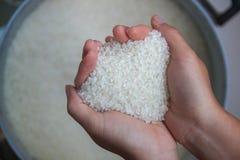 Mains avec du riz, plan rapproché comment choisir le riz ? photos stock